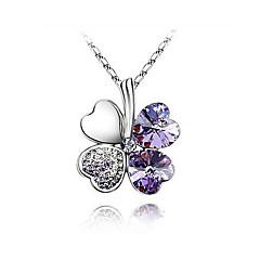 Women's Rhinestone Lucky Leaf Pendant Necklace