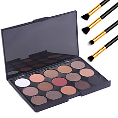 15 χρώματα επαγγελματικό μακιγιάζ ζεστό γυμνό σκιά ματιών ματ παλέτα λάμψη καλλυντικών + 4τεμ μολύβι πινέλο μακιγιάζ