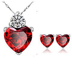 Lureme®  Korean Fashion Singleness Of Heart Garnet  Crystal  Zircon Pendant Alloy Necklace Earrings Suit