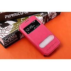 For Samsung Galaxy etui Med stativ Med vindue Flip Etui Heldækkende Etui Helfarve Kunstlæder for SamsungYoung 2 Trend Duos Trend 3 Pocket