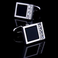 Toonykelly® Fashion Silver CZ Zircon Crystal Black Enamel Men Shirt Cufflink Button(1 Pair)