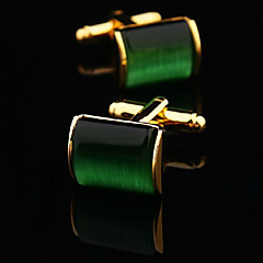 Toonykelly® Fashion Gold Plated Green Stone Handsome Shirt Cufflink(1 Pair) Christmas Gifts