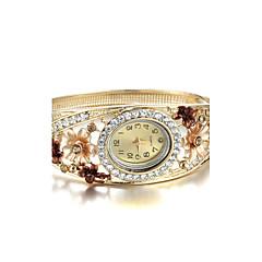 Dames Modieus horloge Kwarts imitatie Diamond Legering Band Bloem Bangle armband Elegante horloges Goud Paars Bruin Rood Groen Regenboog