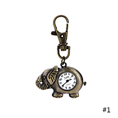 Classic Design Unique Retro Style Elephant Pocket Watch Key Ring Watch for Men Women Ladies Student Gift