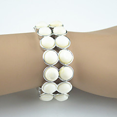Vintage Look White Sea Shell Adjustable Elastic Bangle Bracelet(1PC)