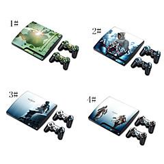 Pokrywa skórę naklejka naklejki do PS3 play station 3 Slim + 2 kontrolery skórek