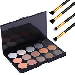 15 cores de maquiagem profissional quente nu pérola sombra paleta de brilho de luz cosméticos + 4pcs lápis pincel de maquiagem