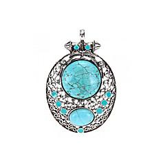 "Tibetan Silver Armor Oval Blue Turquoise Gemstone Pendant Bead 3x2"" HOT"