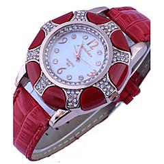 kvinders diamante runde dial pu band quartz analog mode ur