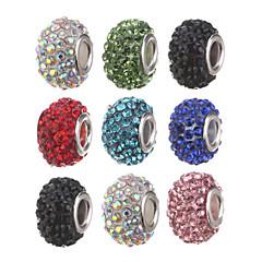 Diy Beads Metal/Rhinestone Tube Shape Crystal Large Hole Beads 1Pcs