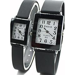 quadrante piazza gomma nera orologio da polso del quarzo della fascia di coppia