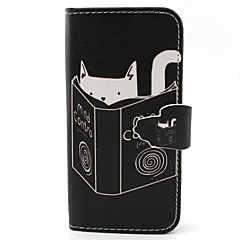 Cat Reading Pattern PU Leather Case with Card Slot and Stand for Samsung Galaxy S4 mini/S3mini/S5mini/S3/S4/S5/S6/S6edge