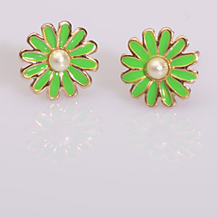 European  Fashion Pop Oil Series 3 Earring Stud Earrings Wedding/Party/Daily/Casual 2pcs (Color random delivery)