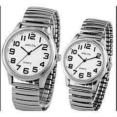 Erkek / Bayanların / Çiftlerin Moda Saat Quartz Alaşım Bant Gümüş / Altın Rengi Marka-