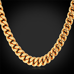 U7® Cool Curb Chains Men Jewelry 18K Real Gold Plated 2015 New Fashion High Quality Classic Chain Necklaces for Men