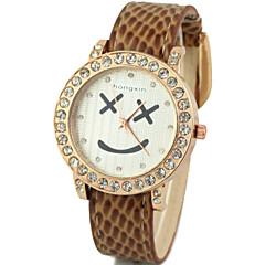 望太阳 2015/7/4 21:32:55Women's Diamante Round Dial PU Band Quartz Analog Casual Watch