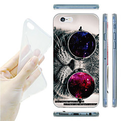 Cat with Glasses Pattern TPU Soft Back Case for iPhone 6/6S