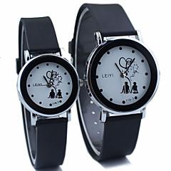 Heren / Dames / Voor Stel Dress horloge Kwarts Sporthorloge Rubber Band Zwart Merk-