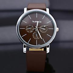 womage Quarzuhr mit Streifen zeigen Leder Armband für Frauen-dunkelbraun