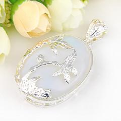 Fashion Forward owalne ogień księżycowy gem 925 wisiorki srebrne naszyjniki kokosowe drzewo na wesele codziennego dla 1szt