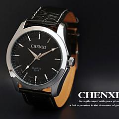 chenxi® män klänning klocka affärsdesign svart läderrem