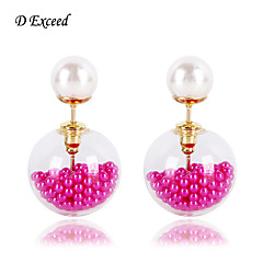 D Exceed Elegant Double Glass Pearl Stud Earrings for Women (More Colors)