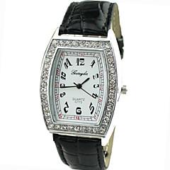 Women's Diamante Square Dial PU Band Quartz Analog Casual Watch