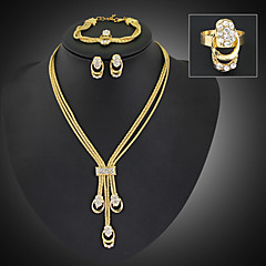 Lucky Doll Women's Vintage 18K Gold Plated Zirconia Long Tassel Necklace & Earrings & Bracelet & Ring Jewelry Sets