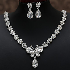 The Bride Jewelry Necklace Earring Two Set Wholesale Butterfly Rhinestone Crystal Bridal Jewelry Necklaces Wholesale