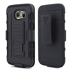 sort robust hybrid hård taske til Samsung Galaxy s6 / s6 kant tilfælde bælteklips med hylster stå 3 i 1 tung fremtidig rustning
