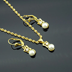 18K Real Gold Plated Pearl Necklace+Earrings Jewelry Set
