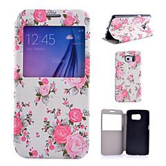 hvid blomst mønster pu læder telefon Taske til Samsung Galaxy s4 / S5 / S6 / s4 mini / s5 mini
