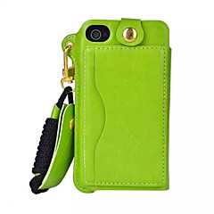 Gniazdo karty skórzane pu wiszą liny wiszący na szyi telefonu komórkowego kabury do iPhone 4 / 4s (Wybór koloru)