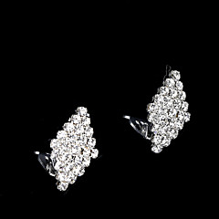 European And American Fashion Small Full Diamond Fake Diamond Earrings Clip Earrings Wedding/Party/Daily/Casual 2pcs