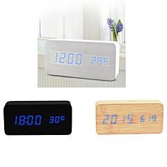 double écran bleu clair usb en bois rectangulaire d'horloge conduit