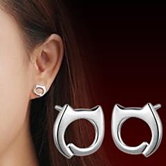 Kolczyki na sztyft Słodkie Style Srebro standardowe Animal Shape Kot Kolor ekranu Biżuteria Na