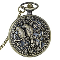 Retro Skeleton Bird Flower Pattern Alloy Quartz Analog Pocket Watch With Chains (1 x LR626) Cool Watch Unique Watch