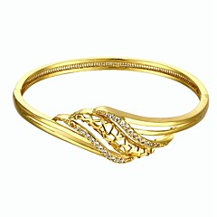 Fashion Delicate Diamante Curve Style 5.6*5cm Women's Multicolor Gold-Plated Brass Bangles(Golden&Rose Gold)(1 Pc)