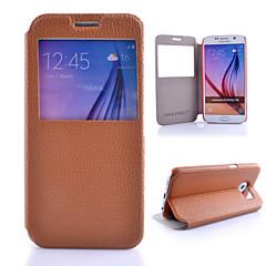 feste PU-Leder geprägt Fenster Ganzkörper Fall für Samsung-Galaxie s6