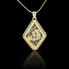 18K Real Gold Plated Allah Muslim Islamic Zircon Rhombus Pendant 3.5*6.2CM