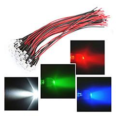 longueur de la ligne de 20cm LED 12V 5mm lumière rouge / blanc / bleu / vert / rgb 20pcs paquet