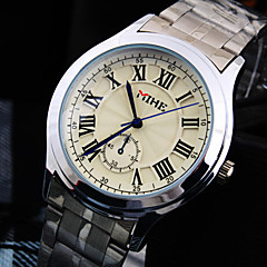 Men's Luxury Business Round Rome Number Dial Stainless Steel Strap Fashion Life Waterproof Quartz Watch