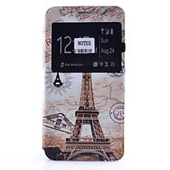 Varten Samsung Galaxy Note Korttikotelo / Tuella / Ikkunalla / Flip / Kuvio Etui Kokonaan peittävä Etui Eiffelin torni Pehmeä Tekonahka