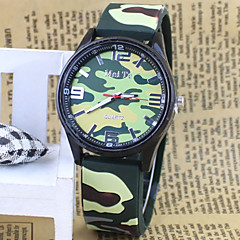 Men's Army Style Camouflage Rubber Band Quartz Wrist Watch
