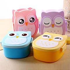 caja linda del búho de dibujos animados caja de almuerzo contenedor de alimentos de almacenamiento bento portátil (color al azar)