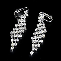 European And American Fashion Full Diamond Fake Diamond Long Earrings Clip Earrings Wedding/Party/Daily/Casual 2pcs