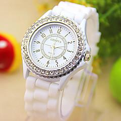 Unisex Uhr die neuen Genfer weißen Diamant-Uhren sind Kieselgel