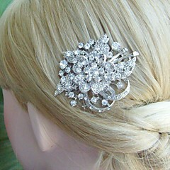 Bridal Hair Jewelry Wedding Hair Comb Silver-tone Rhinestone Crystal Flower Hair Comb Bridal Hair Comb Bridal Jewelry