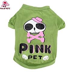Kat Hond kostuums T-shirt Outfits Hondenkleding Cosplay Bruiloft Halloween Stripprint Doodskoppen Groen