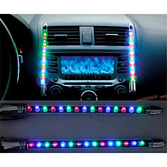 2x Car LED Blue/Colorful Sound Control Music Light Car Charge Interior Light 12V Glow Decorative Atmosphere Lamp